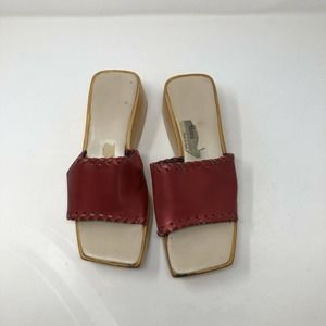Mara DelConte Red Leather Slides Made In Italy 38
